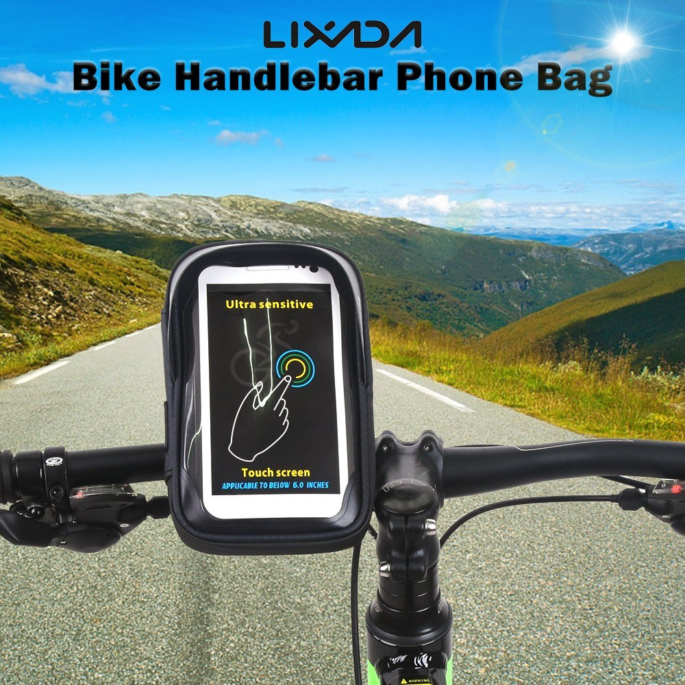 Lixada Waterproof Cycling Bike Bicycle Handlebar Bag Touchscreen Cell Phone Mount Holder Bag for 6.0 Inch Smartphone