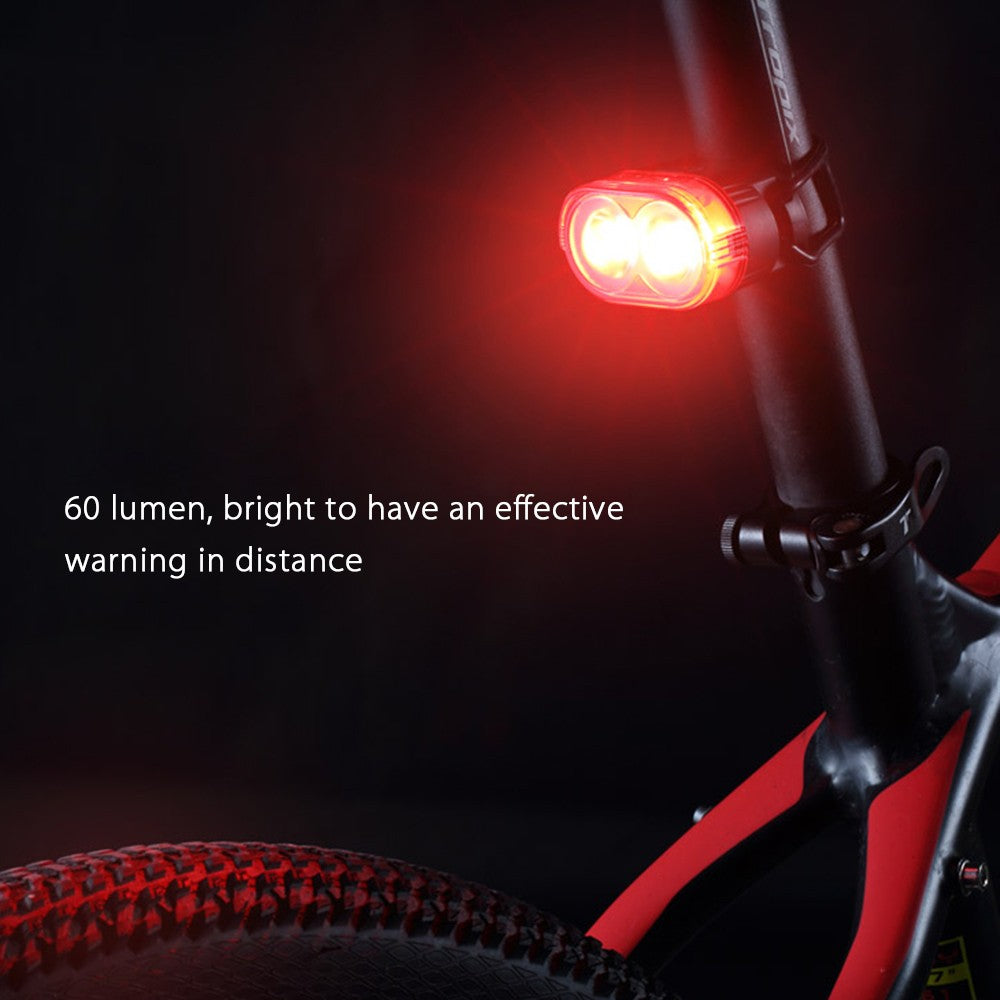 Light Sense Bike Tail Light Smart Cycling LED Warning Light Rechargeable Bike Taillight Seat Post Light Vibration Sense Bike Light 60LM