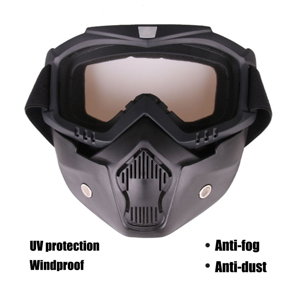 Outdoor Goggles Mask UV Protection Lens Windproof Motorcycle Helmet Riding Cycling Glasses with Detachable Face Mask