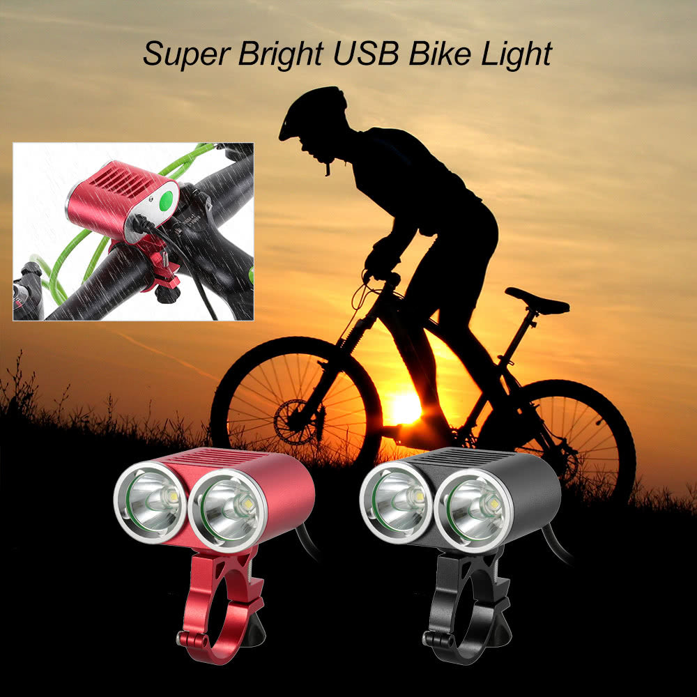 Front Handlebar USB Bike Light 2400 Lumens Powerful Super Bright LED Cycling Safety Flashlight Double Lights Bicycle Light Waterproof