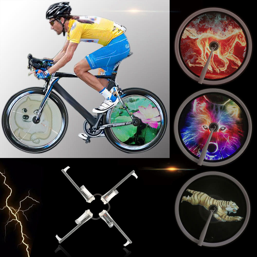 ?High Resolution Brightness 2500cd/m2 Intelligent Smart Bike Spoke Wheel Light Monitor RGB Display Rechargeable Bicycle Wheel Hub 256/416pcs Full Colored LEDs Light