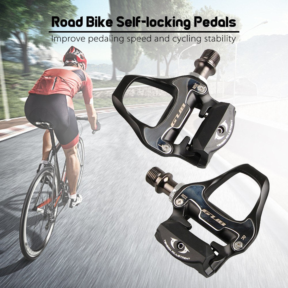 GUB Road Bike Self-locking Pedals Lightweight Aluminum Alloy CR-MO Cycling Pedals