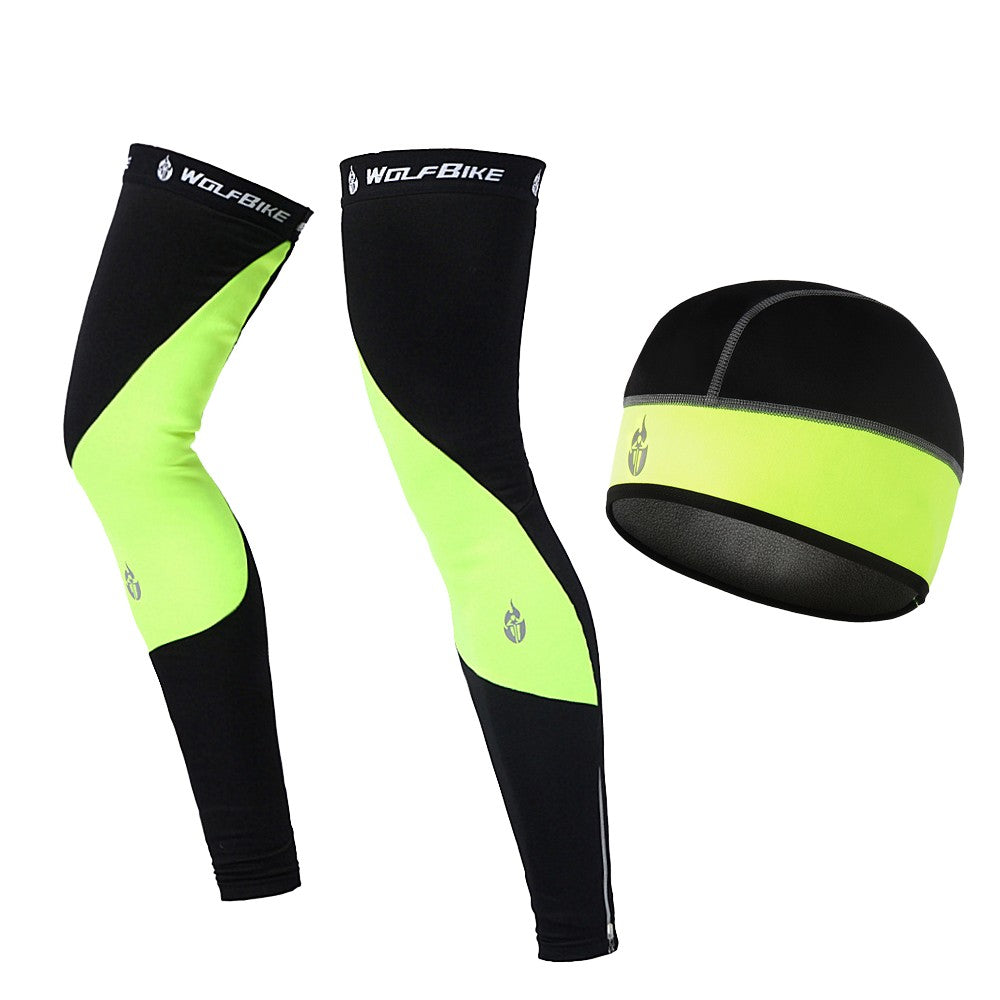 Windproof Warm Cycling Cap and Leg Warmers Set Outdoor Sports Running Warm Hat Leg Sleeves Leggings for Men Women