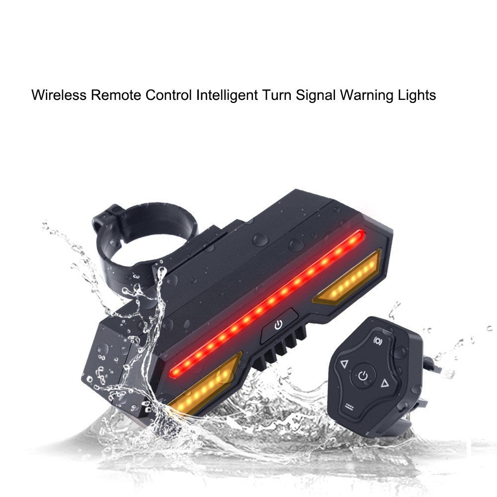 Waterproof USB Rechargeable LED Bicycle Rear Light Lamp 85 Lumen Mount Taillights For Cycling Wireless remote control Intelligent turn signal Warning Lights(Red)