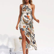 Maternity Halter Sleeveless Floral Print Dress