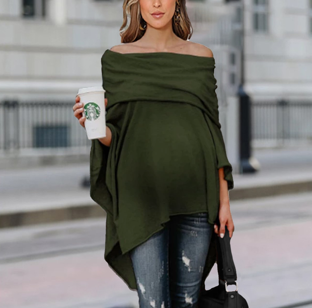 Maternity Loose Off Shoulder Irregular Hem Strapless Shirt