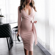 Maternity V-Neck Side Bow Long Sleeve Knee-Length Dress