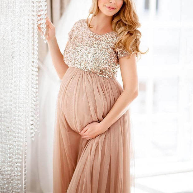 Maternity Maxi Dress With Delicate Sequins