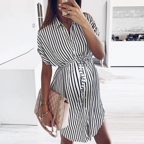 Maternity Fashion Striped Fold Over Collar Single-Breasted Dress
