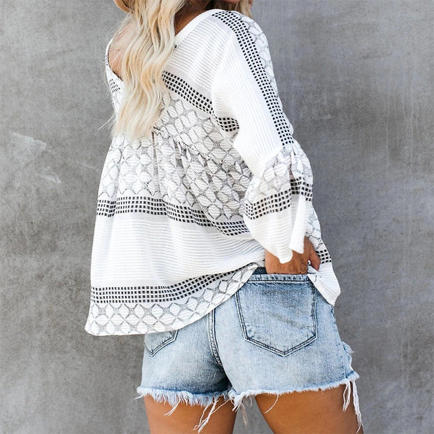 Fashion Printed Lace-up Maternity Top