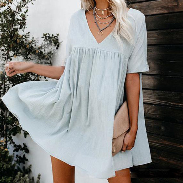 Maternity V-Neck Cotton And Linen Dress