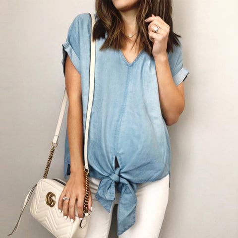 Maternity V-Neck Tie With Solid Color Short-Sleeved T-Shirt