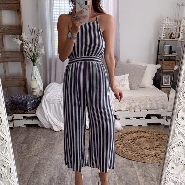 Maternity Halter Halter Sleeveless Striped Jumpsuit