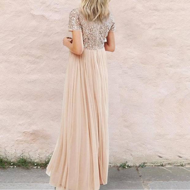 Maternity V Neck Tonal Delicate Sequins Dress