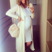 Maternity Casual Sundress Bodycon White Sleeveless