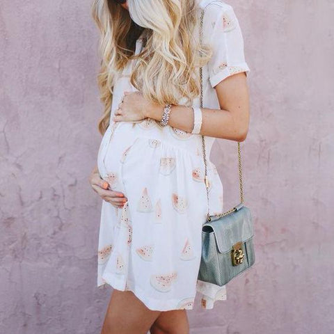 Maternity Casual Watermelon Shirt Dress