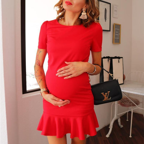 Maternity Solid Color Skater Dress
