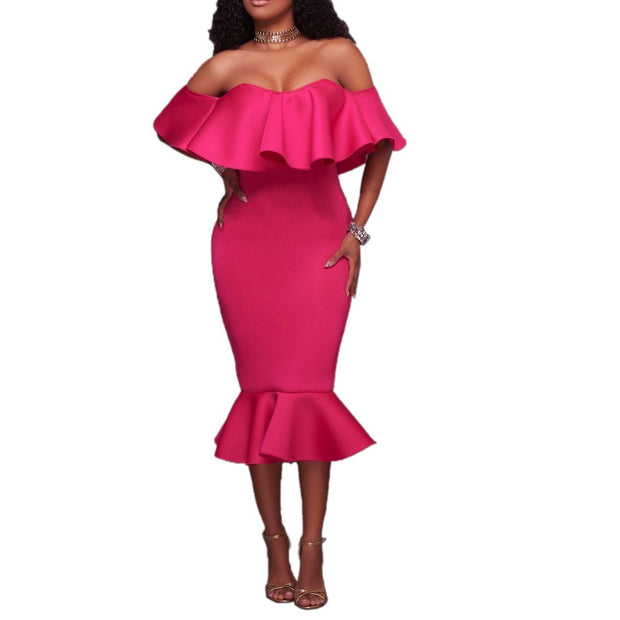 Maternity Off Shoulder Flounced Bodycon Dress