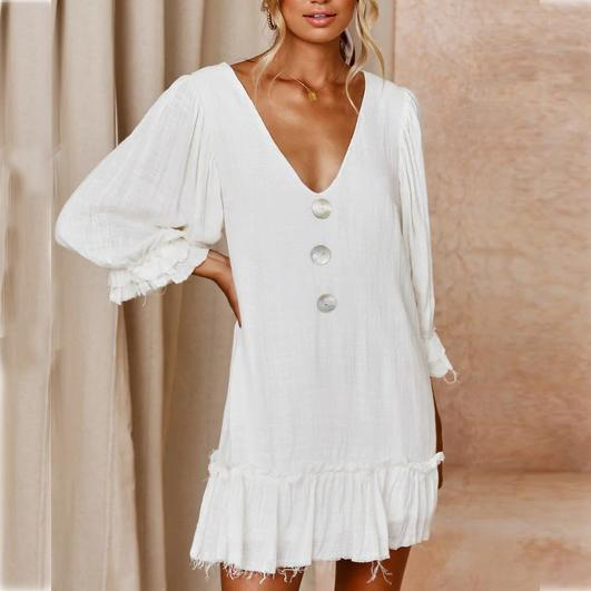 Sexy V Collar Low-Cut Button Decorated Plain Mini Dress