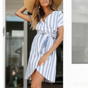 Maternity V-Neck Stripe Tie Casual Dress