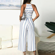 Maternity Halter Stripe Patchwork Loose Jumpsuit