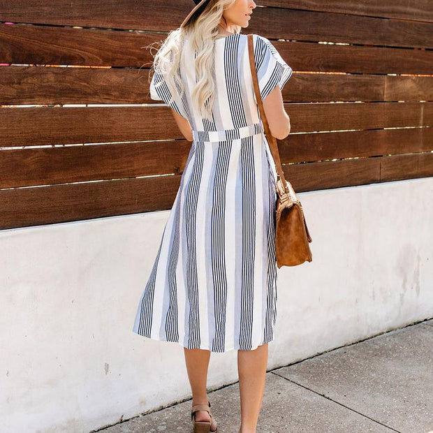 Maternity V-Neck Stripe Casual Long Dress