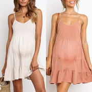 Maternity Plain Spaghetti Strap Cotton Casual Dess