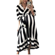 Maternity Surplice Stripe Loose Casual Dress