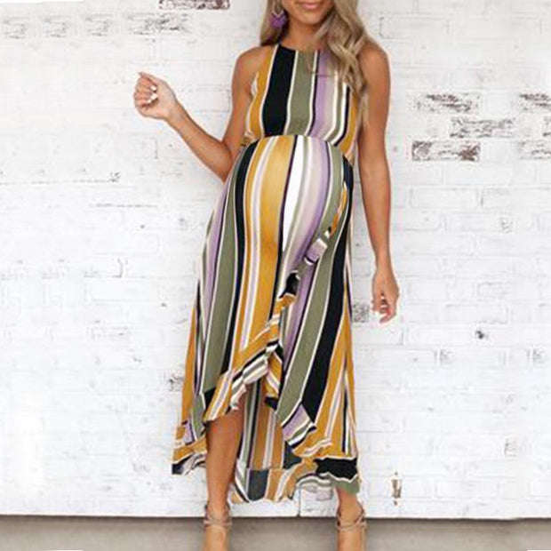 Maternity O-Neck Stripe Falbala Sleeveless Daily Maxi Dress