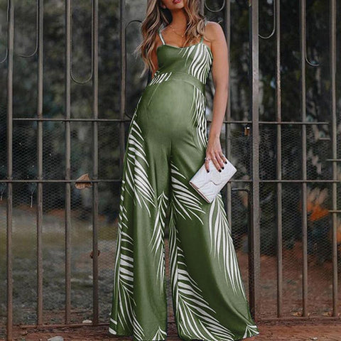 Maternity Commuting V-Neck Sleeveless Printed Colour Jumpsuit