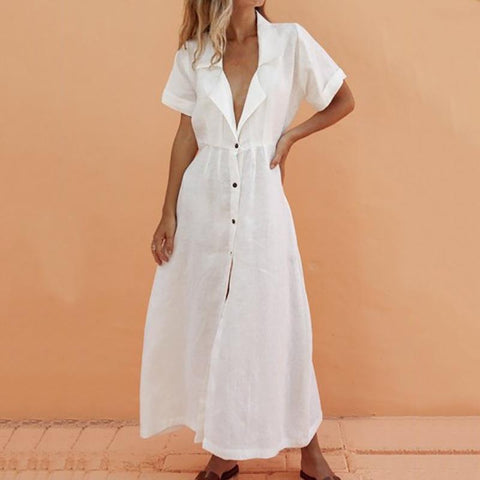 Maternity Casual V Neck Short Sleeve Pure Colour Dress