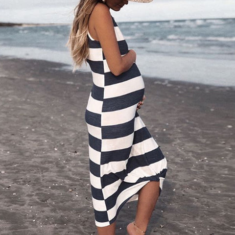 Maternity Casual Round Neck Striped Harness Dress