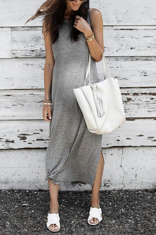 Casual Pure Color Round Neck Sleeveless Slit Hem Dress