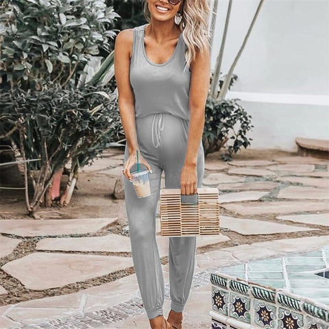 Maternity Women's Solid Color Sleeveless Jumpsuit