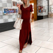 Solid Color V-Neck Short Sleeve Split Long Dress