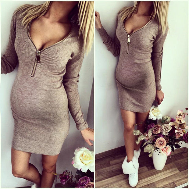Maternity Sexy Deep V Neck Long Sleeve Metal Zipper Hip Dress