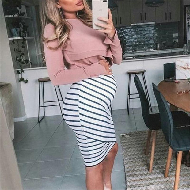 Maternity Striped Slim Fit Bodycon Dress