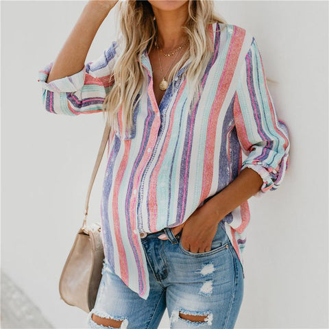Maternity Casual Color Vertical Stripst Pocket Loose Shirt