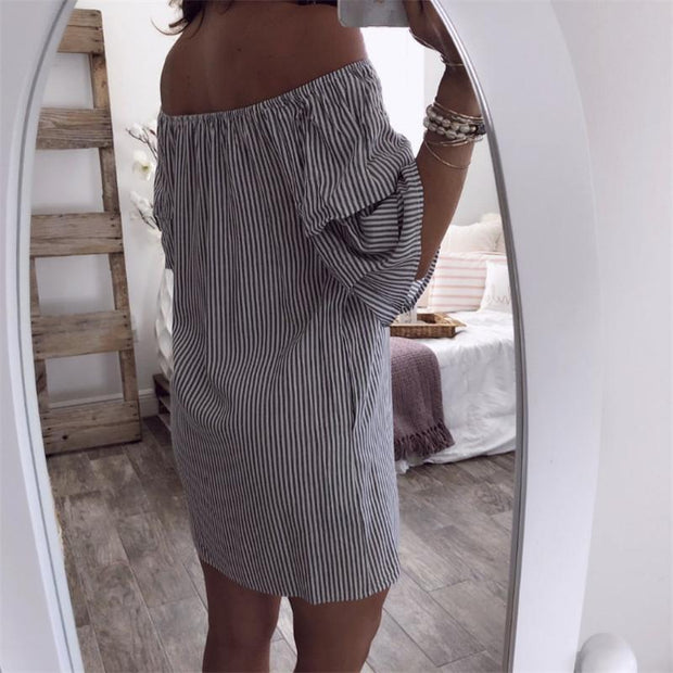 Maternity Off Shoulder Half Sleeve Vertical Striped Dress