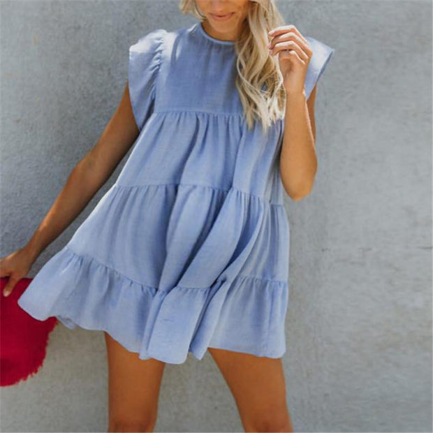 Maternity Solid Color Splicing Ruffle Cake Dress