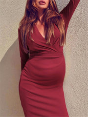 Maternity V-Neck Solid Color Slim Bodycon Dress