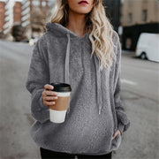 Maternity Solid Color Casual Hooded Velvet Jacket