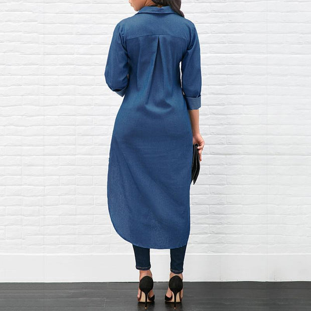 Maternity Lapel Long Sleeved Irregular Dress