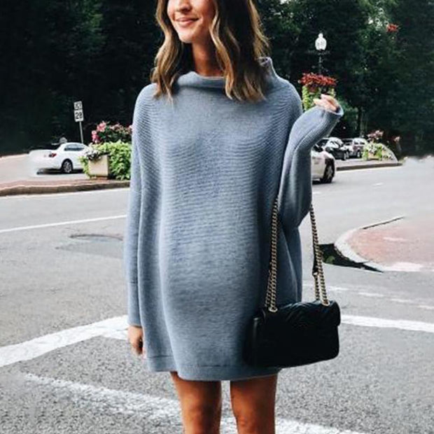 Maternity Casual Short High Collar Long Sleeve Pure Colour Sweater