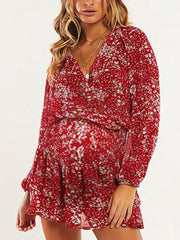 Maternity European And American Deep V Sexy Chiffon Dress