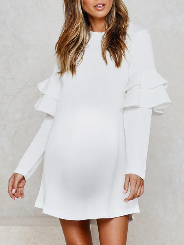 Maternity White Long Sleeve Round Neck Lace Sleeve Dress