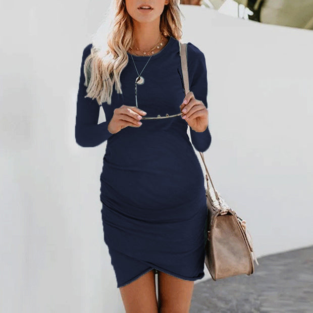 Maternity Fashion Sexy Irregular Bag Hip Long Sleeve Dress