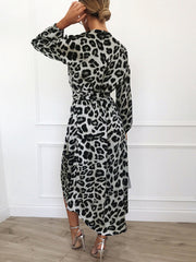 Maternity Leopard Print Long Sleeve V-Neck Lace Dress