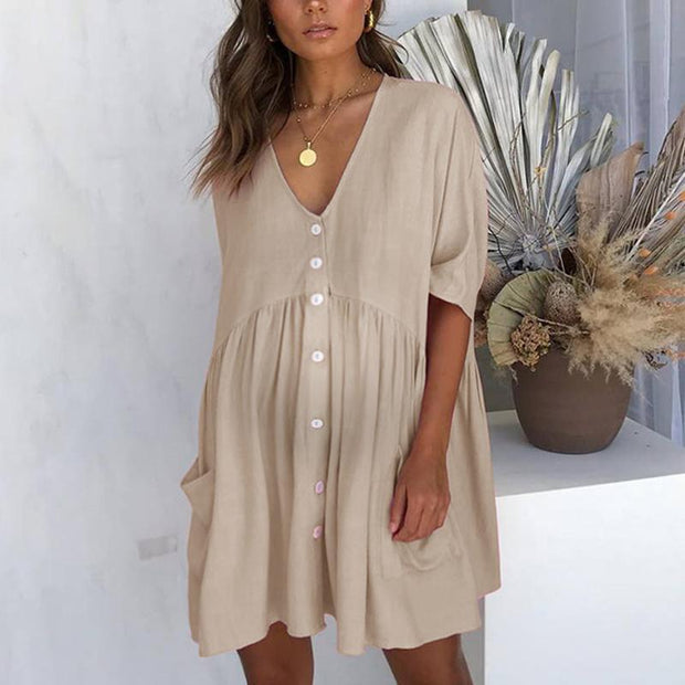 Maternity V-Neck Waist Casual Short-Sleeved Dress