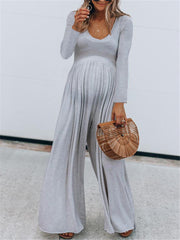 Maternity Low Round Neck Solid Color Jumpsuit